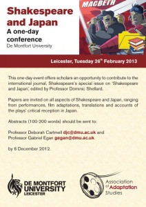 Shakespeare and Japan Conference. De Montfort University, February 2013.