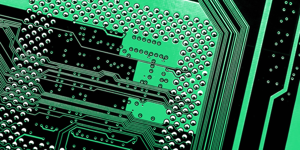 details of the electronic circuit tracks on a printed circuit board